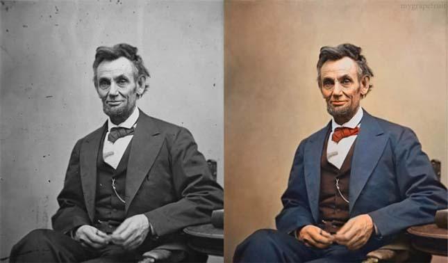 Híres fekete-fehér fotók színesben