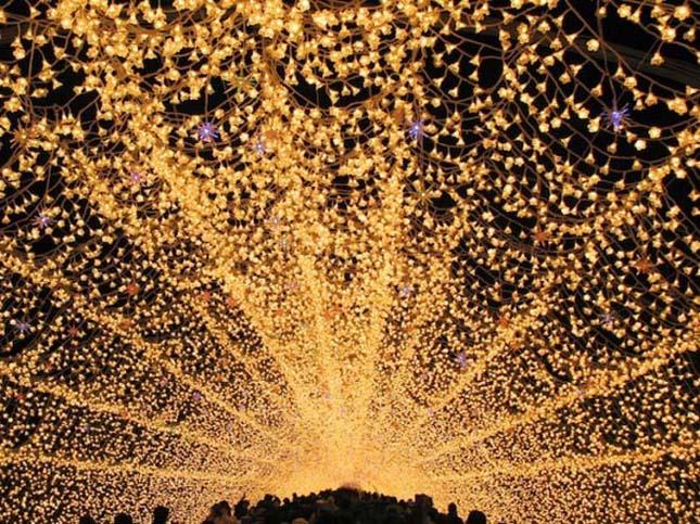 Fényalagút a japán Nabana no Sato parkban
