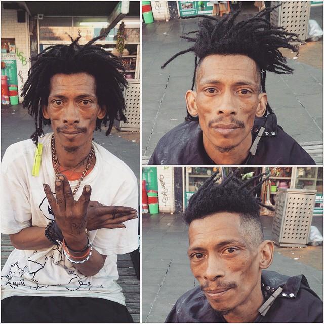 fordász, aki hajléktalanok haját vágja