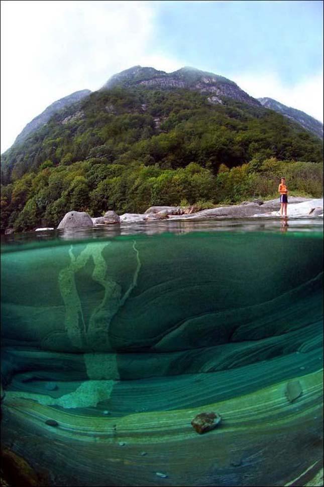 Gyönyörű kristálytiszta folyó Svácj hegyeiben