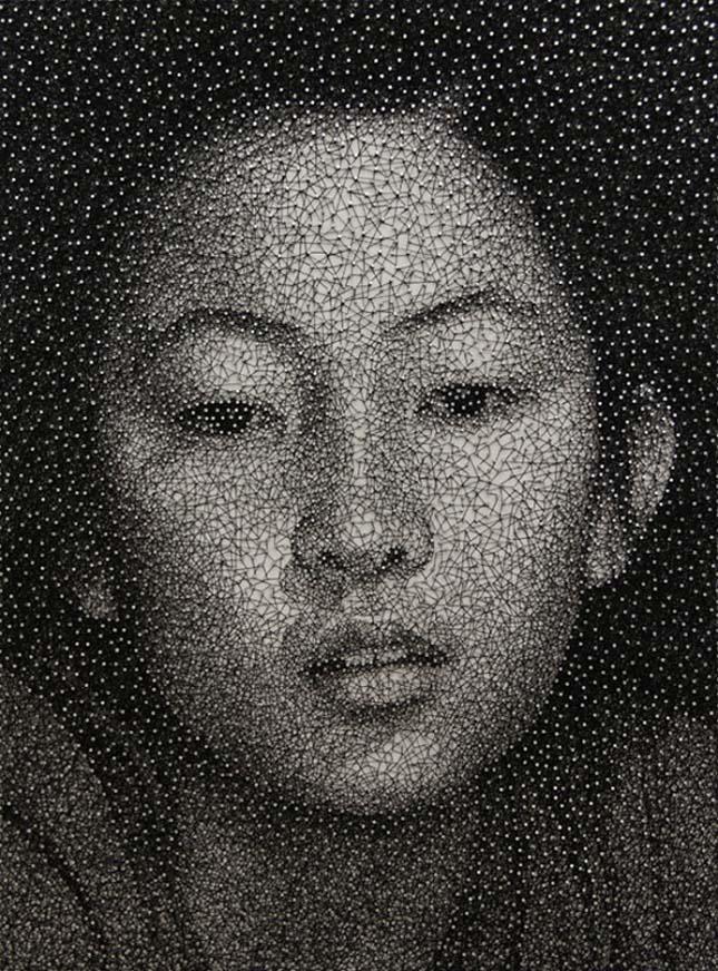 Kumi Yamashita cérnából készült portréi