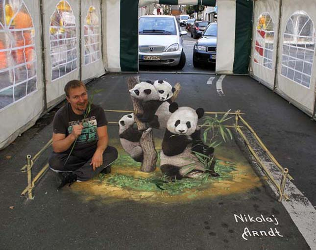 Nikolaj Arndt 3 dimenziós utcai művészete