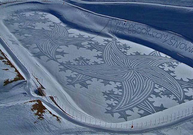 Simon Beck óriási hóba taposott rajzai