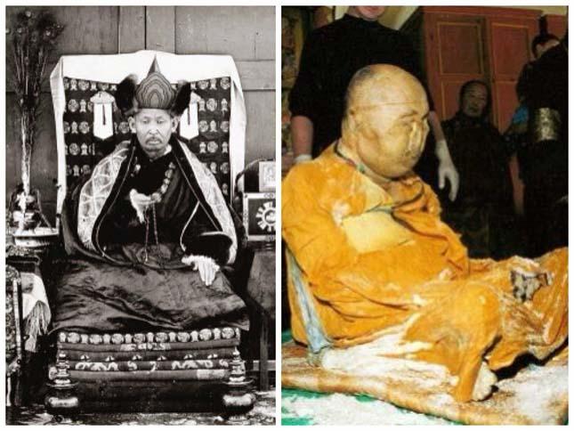 Lótuszülésben mumufikálódott szerzetes