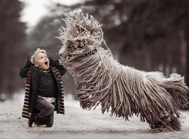 Kisgyerekek és hatalmas kutyáik