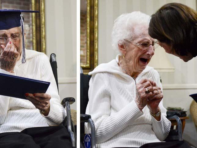 97 évesen vette át az érettségijét