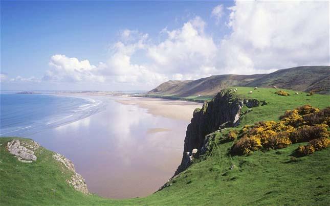 Rhossili Bay, Swansea, Wales, Nagy-Britannia