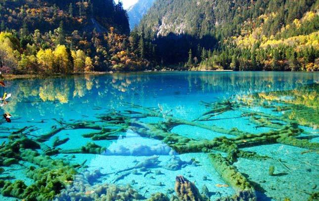Türkizkék Kristály-tó - Jiuzhaigou Nemzeti Park, Kína