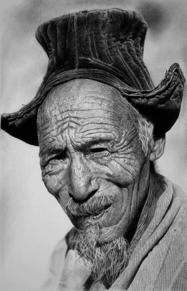 Franco Clun - ceruzarajz festett papíron