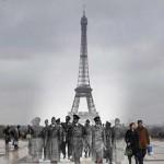 Az 1940-es megszállt és a modern Párizs fotómontázsokon
