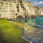 Papakolea zöld homokos tengerpartja