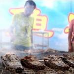 Grillezett krokodilok egy kínai gourmet fesztiválon