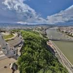 Budapest és nevezetességei az égből egy forgatható kamerán keresztül