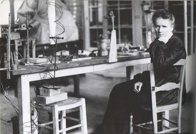 ?Marie Curie in her laboratory