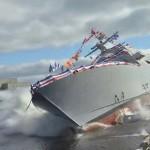 A USS Detroit hadihajó látványos vízre bocsátása