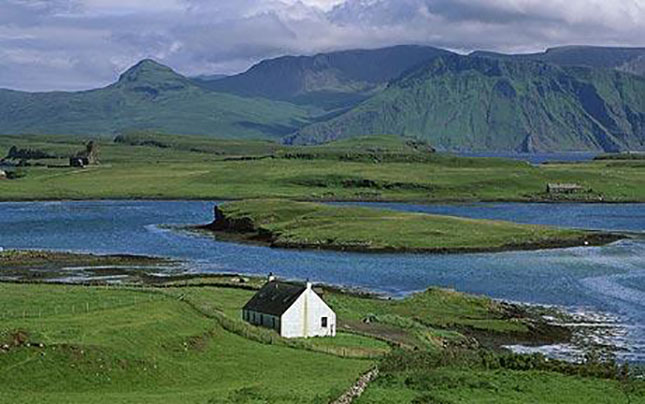 Lonely farm cottage, Canna Island, Inner Hebrides, Scotland