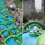 300 méteres csúszdával szórakoztatják a városlakókat