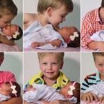 Így reagált a hat fiútestvér miután kishúguk született