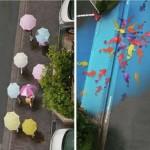 Színes festmények bukkannak elő az utcákon, ha elered az eső