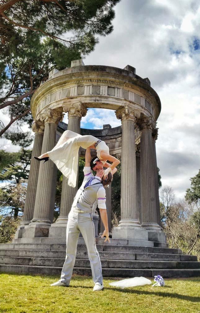 Akrobata házaspár esküvői fotói