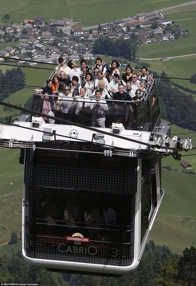 Cabrio, emeletes felvonó Svájcban