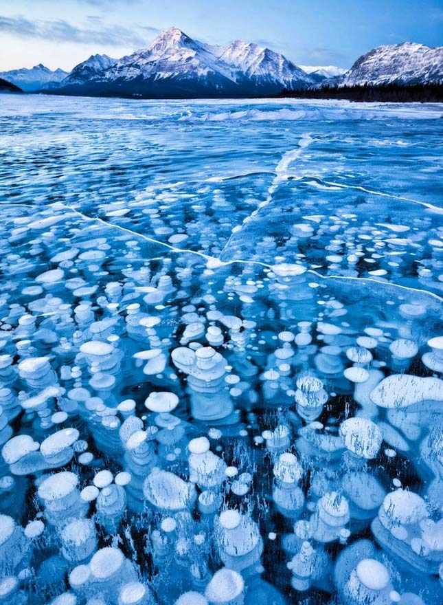 Fagyott buborékok tava