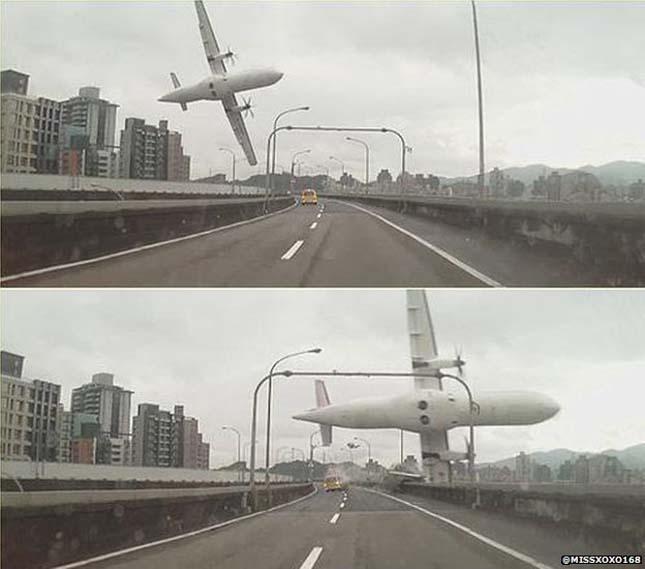 Folyóba zuhant egy repülőgép Tajvanon