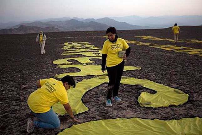 Greenpace akció a Nazca-vonalaknál
