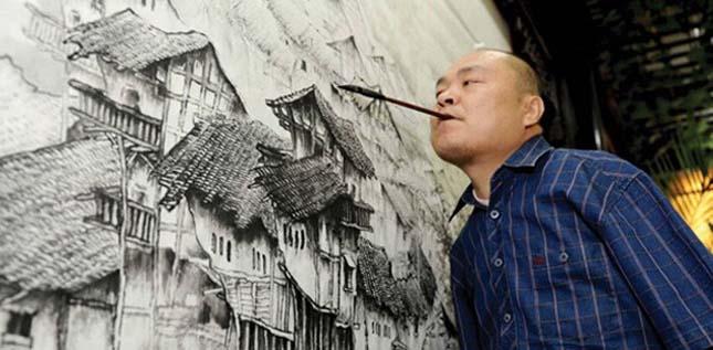 Huang Guofu, a kéz nélküli festő
