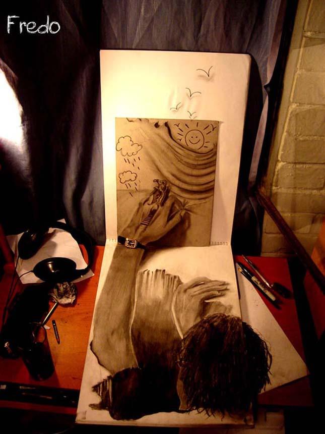 Fredo (Wladimir Inostroza) térhatású rajzai